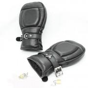 SM Fäustlinge Schutzhandschuhe Patientenhandschuhe Leder abschließbar schwarz - HAL1