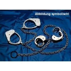 CLEJUSO - Kombination Handschellen + Fußschellen Nr. 128m/15 Zusatzkette mit Ring vernickelt